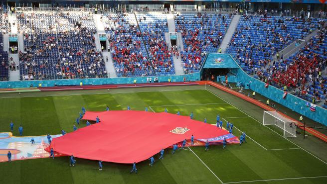 Panorámica del estadio Krestovsky en el Suiza - España de la Eurocopa