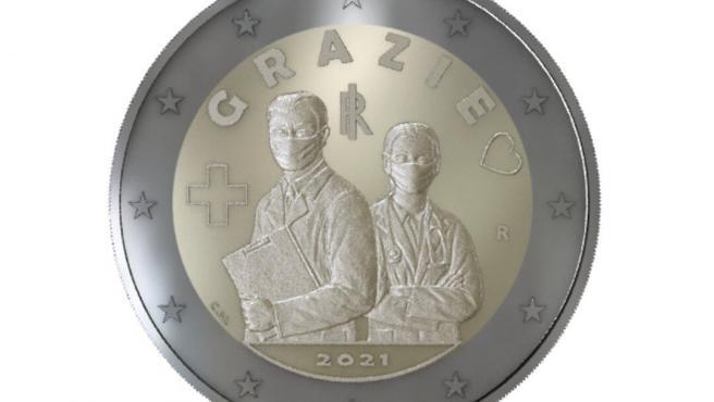 'Grazie', la moneda que homenajea a los sanitarios italianos.
