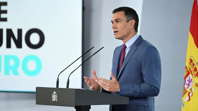 El presidente del Gobierno, Pedro Sánchez, durante la comparecencia en la que ha dado a conocer la nueva composición del Gobierno.