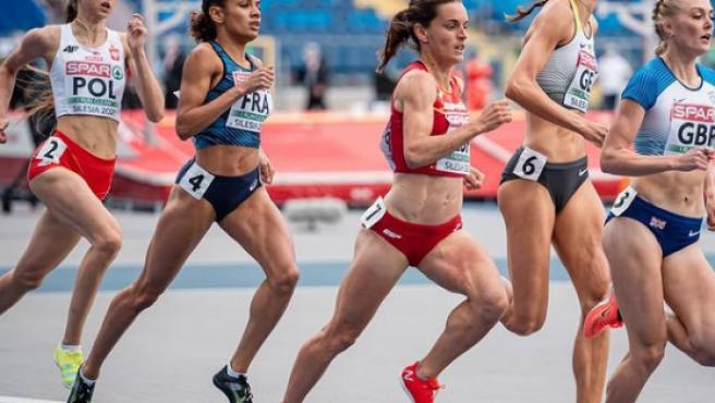 Esther Guerrero durante una carrera.
