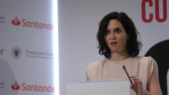 La presidenta de la Comunidad de Madrid, Isabel Díaz Ayuso, en un acto en San Lorenzo del Escorial.
