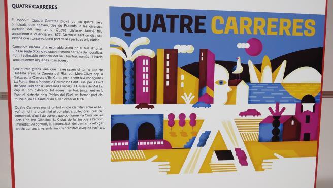 Panel e ilustración de la futura parada de Quatre Carreres.