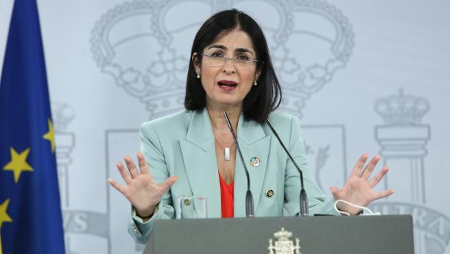 Carolina Darias, ministra de Sanidad, comparece tras el Consejo Interterritorial.