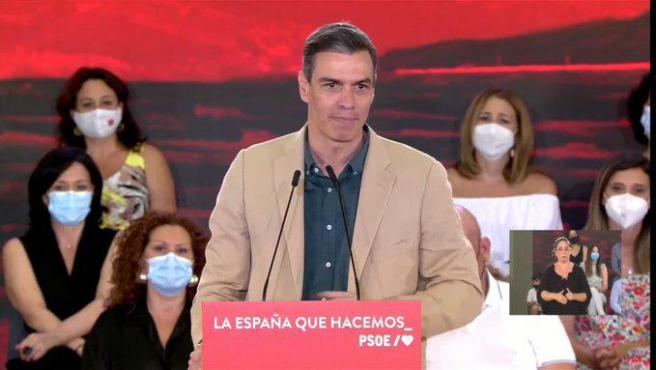 Pedro Sánchez en un acto este sábado.