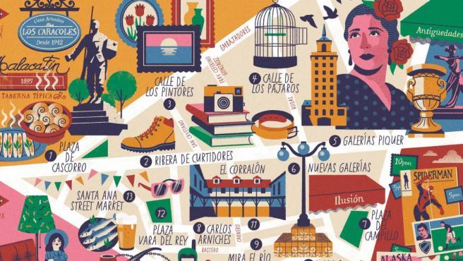 Mapa ilustrado Rastro de Madrid