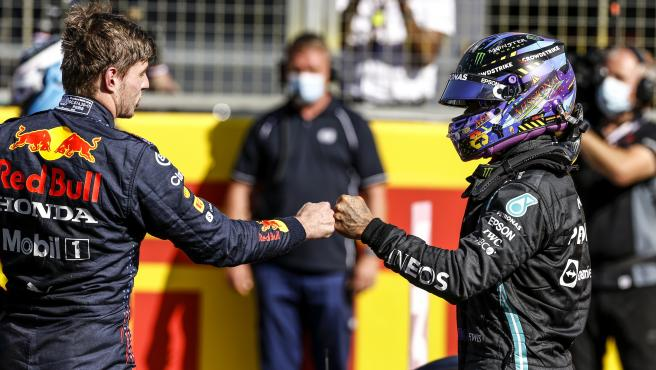 Max Verstappen and Lewis Hamilton, at Silverstone