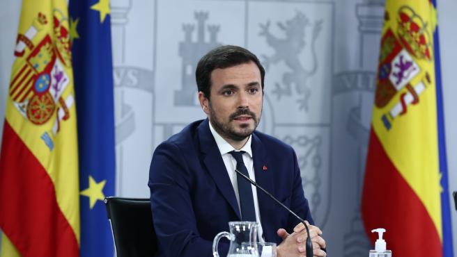 Alberto Garzón, ministro de Consumo, en la rueda de prensa este martes.