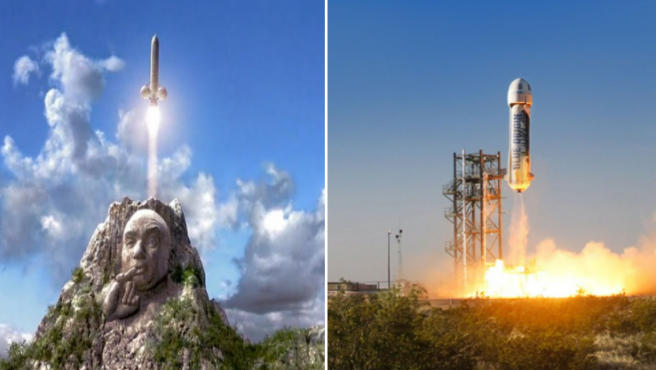 Comparación del Blue Origin con el cohete del Dr. Maligno en 'Austin Powers 2'.