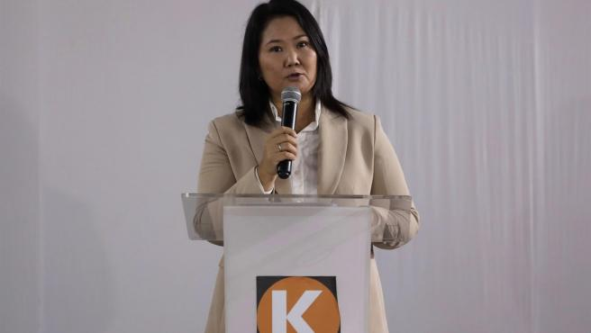 La candidata peruana Keiko Fujimori, durante una rueda de prensa en Lima.
