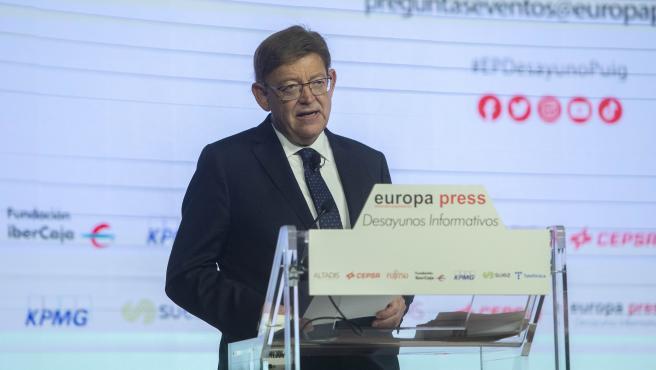 El president de la Generalitat Valenciana, Ximo Puig, intervé en el Desdejuni Informatiu d'Europa Press en l'Auditori El Beatriz Madrid, a 21 de juliol de 2021, a Madrid