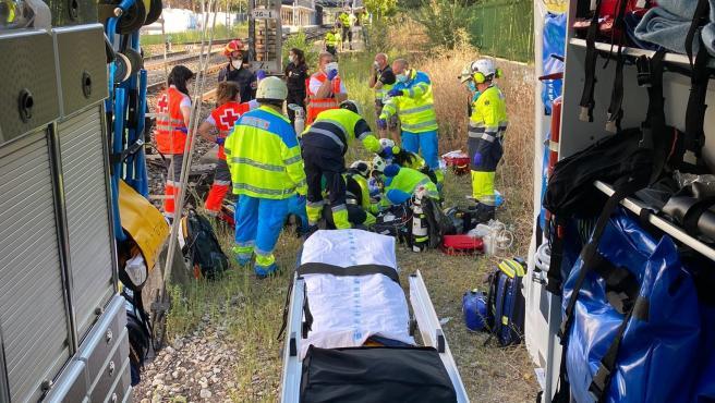 Los servicios de emergencia en el arrollamiento en Coslada.