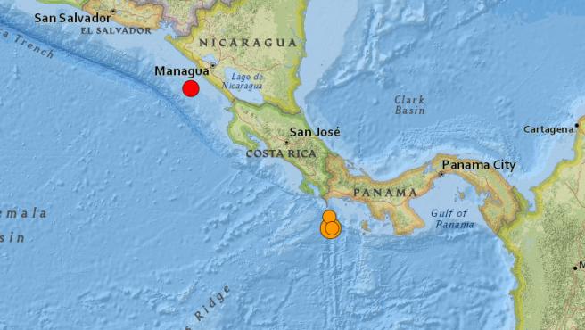 Localización de los epicentros de los terremotos registrados en la costa del Pacífico de Centroamérica.