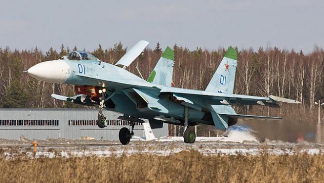 Caza su-27 de la fuerza aérea rusa