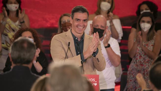 El presidente Sánchez, secretario general del PSOE, en un acto de partido.