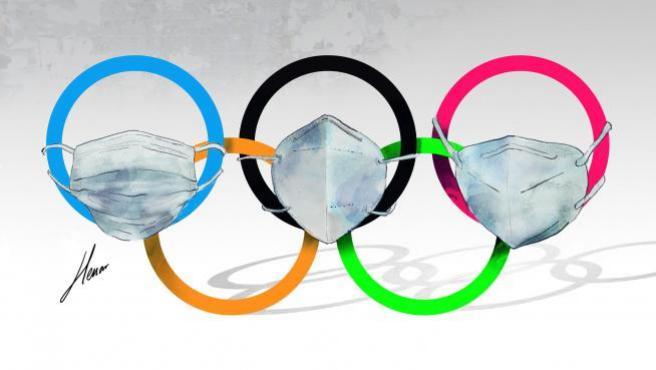 Ilustración sobre los Juegos Olímpicos de Tokio, los de la pandemia.
