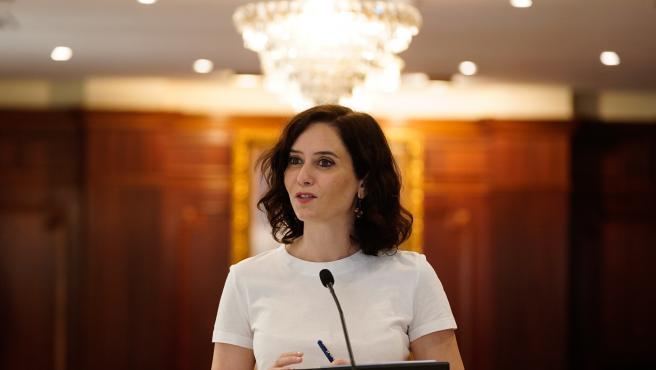 La presidenta de la Comunidad de Madrid, Isabel Díaz Ayuso, en un acto en Villaviciosa de Odón.