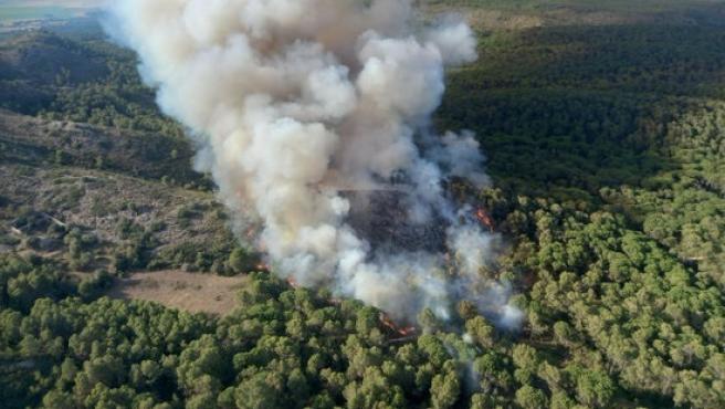 Bombers remojará la zona del incendio estabilizado de Montgrí (Girona) hasta controlarlo