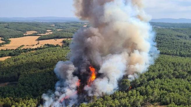 Los Bombers de la Generalitat trabajan un incendio forestal en Ventalló (Girona)
