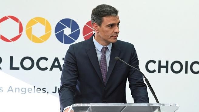 El presidente del Gobierno, Pedro Sánchez, en los estudios de NBC Universal durante su gira económica en EE UU.