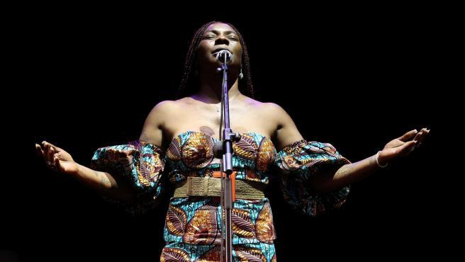 La cantante Concha Buika durante su actuación en la Plaza de la Armería en el ciclo Jazz Palacio Real 2021, en Madrid.