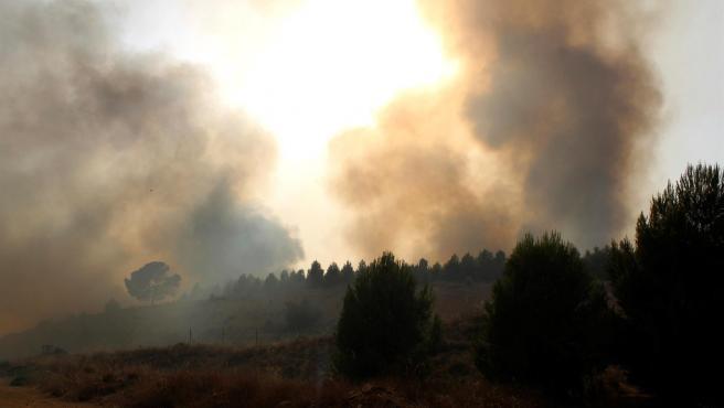 Imagen de las llamas provocadas por el incendio que se ha producido en Albacete.