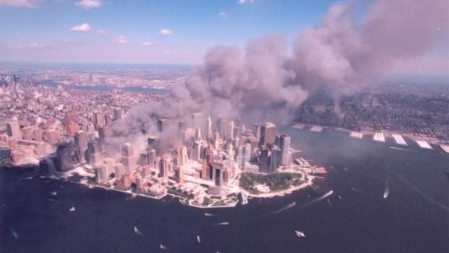 Una vista aérea de la zona del ataque del 11-S.