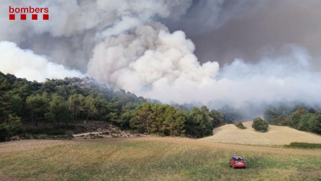 Incendio forestal de Santa Coloma de Queralt (Tarragona).
