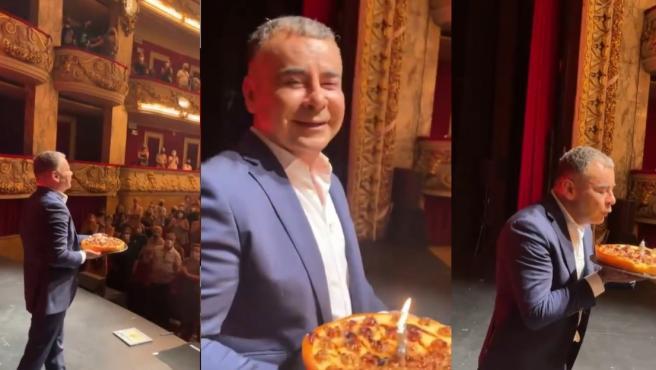 Jorge Javier Vázquez, con su tarta de cumpleaños, tras su actuación en Barcelona.