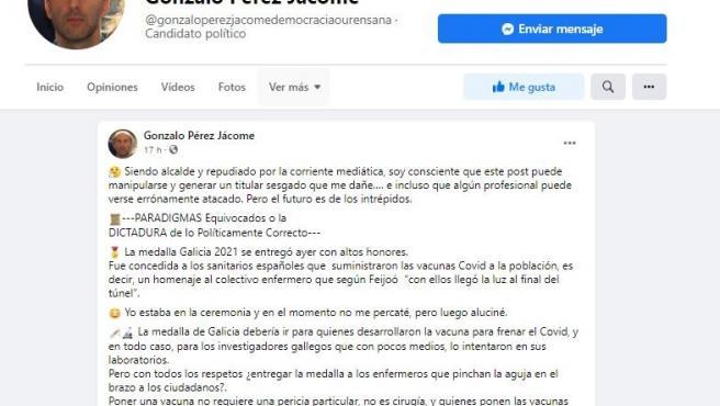 Jácome critica la entrega de la Medalla de Galicia al personal que vacuna y Consejo de Enfermería exige que se retracte