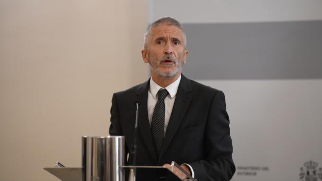 El ministro del Interior, Fernando Grande-Marlaska, durante la rueda de prensa del 28 de julio.