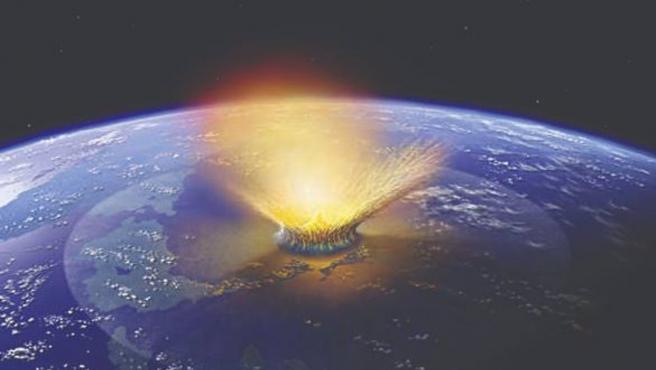 Ilustración del impacto de un gran asteroide contra la Tierra.