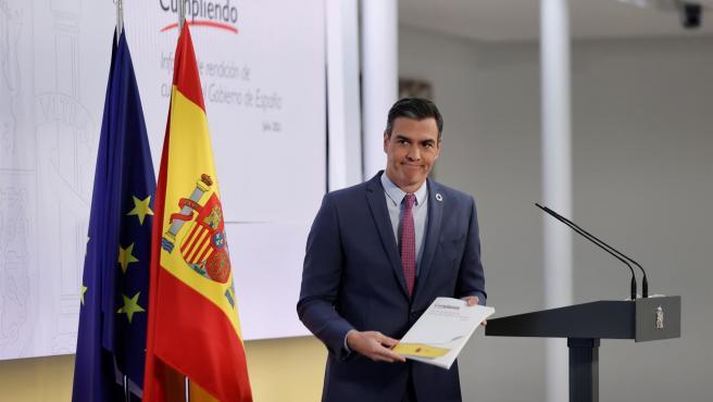 El presidente del Gobierno, Pedro Sánchez, presenta el informe el pasado jueves.