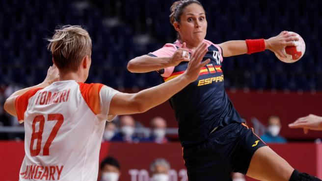 Mireya González, en el España - Hungría de los Juegos Olímpicos de Tokio