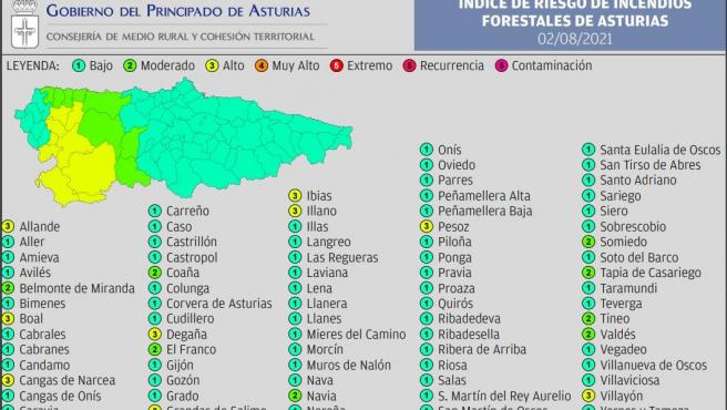 El suroccidente asturiano tendrá este lunes riesgo alto de sufrir incendios forestales