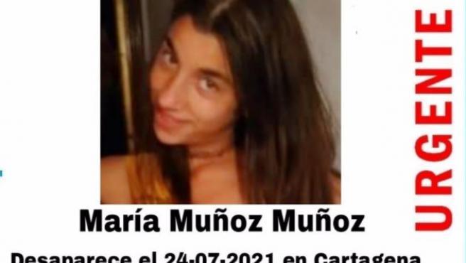 María Muñoz, la joven desaparecida en Cartagena.