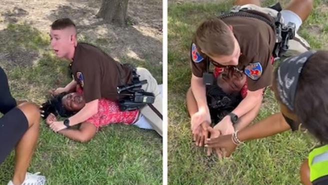 Dos fragmentos del vídeo de la polémica detención en Texas.