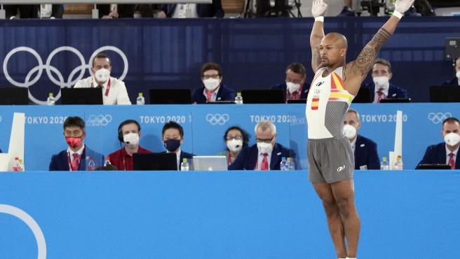 Ray Zapata, durante la final de suelo de Tokio 2020