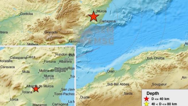 Localización del terremoto de Murcia.