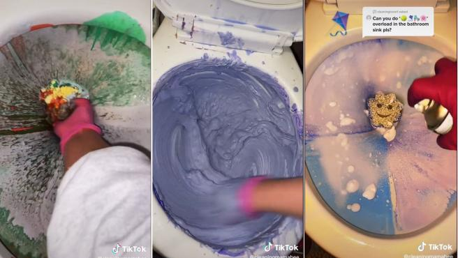 Capturas de los vídeos en los que una 'tiktoker' mezcla colores en un inodoro.