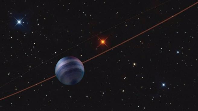 Ilustración del sistema planetario COCONUTS-2, con el planeta gigante gaseoso COCONUTS-2b en primer plano.