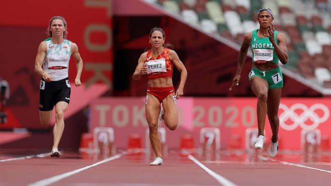 Krystsina Tsimanouskaya en una prueba de los Juegos Olímpicos de Tokio