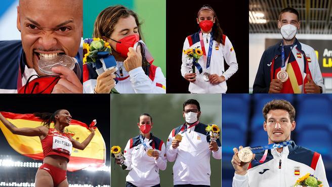 Medallistas de España en la primera semana de los Juegos de Tokio 2020.