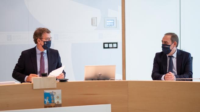 O titular do Goberno galego, Alberto Núñez Feijóo, preside a reunión do Consello da Xunta. Edificio Administrativo de San Caetano, Santiago de Compostela, 29/07/21.