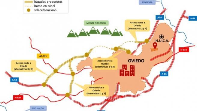 El Mitma abre una encuesta valorativa del paisaje en el área de estudio de la Ronda Norte de Oviedo