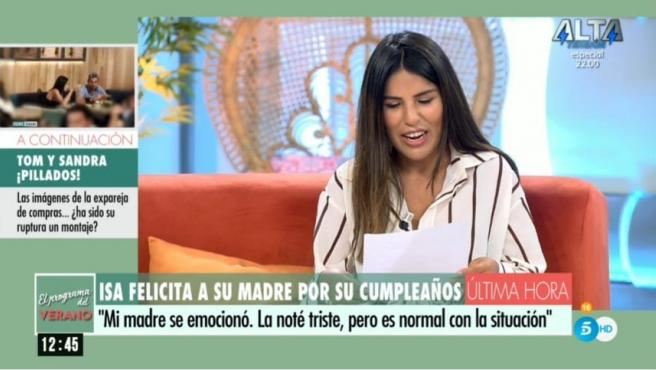 Isa Pantoja envía un mensaje a su madre desde 'El programa del verano'.
