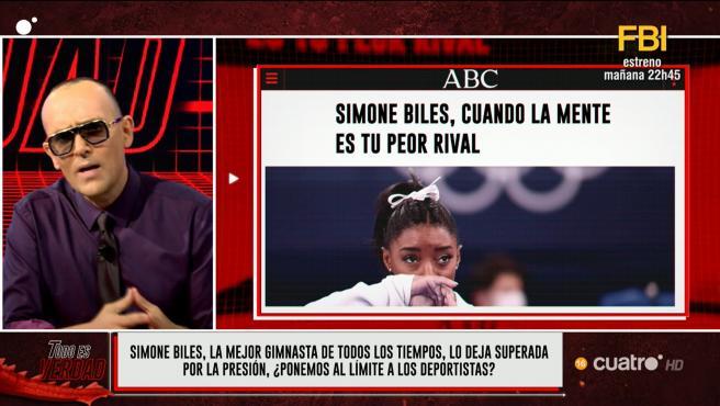 Risto Mejide y Simone Biles, en 'Todo es verdad'.