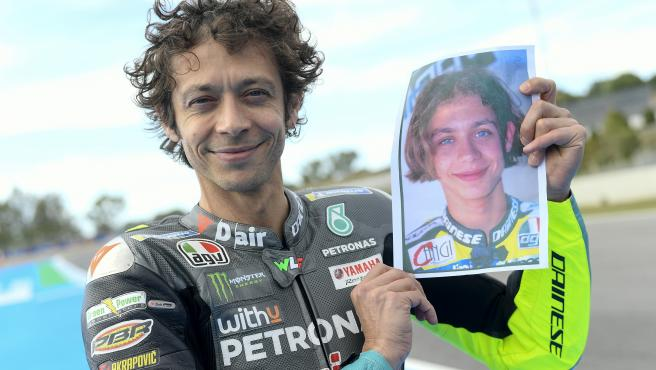 Valentino Rossi, with a photo of his early days