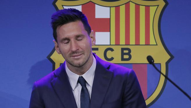 Messi, durante su despedida del Barça