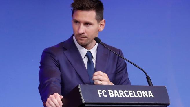 Messi, durante su rueda de prensa de despedida