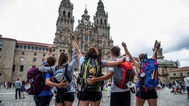 Peregrinos este viernes en Santiago de Compostela.